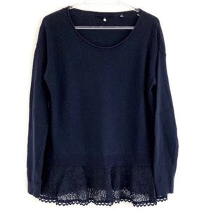 Anthropologie Lightweight Navy Spring Sweater S